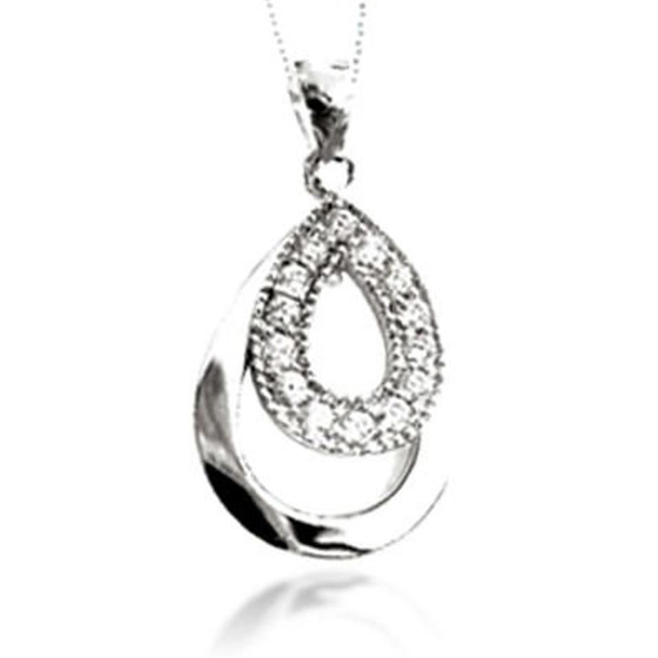 Charming ladies custom design zircon small pendant 18kgp necklace