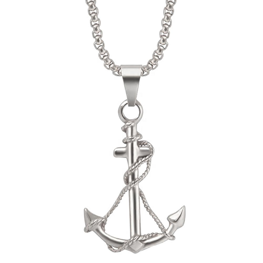 Cheap silver simple anchor necklace unique