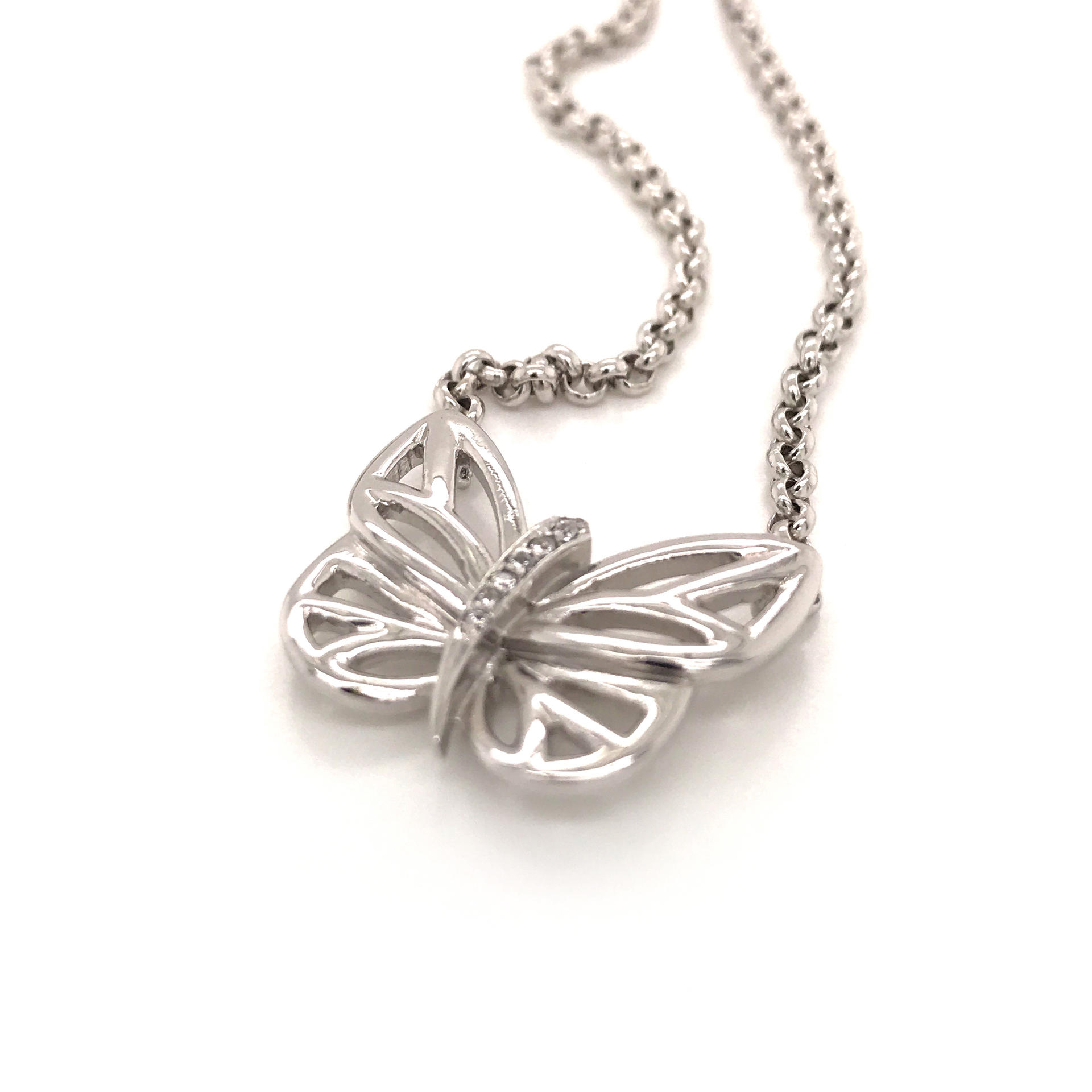 Hollow Design Zircon Butterfly Shaped Necklace, Simple 925 Silver Butterfly Chains Necklace