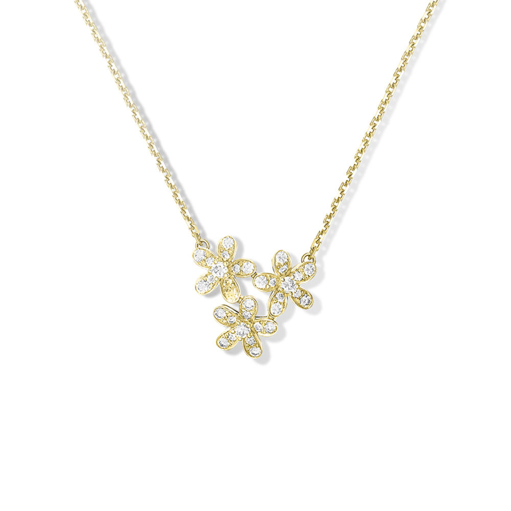 Hollow flower charm latest gold necklace chain model