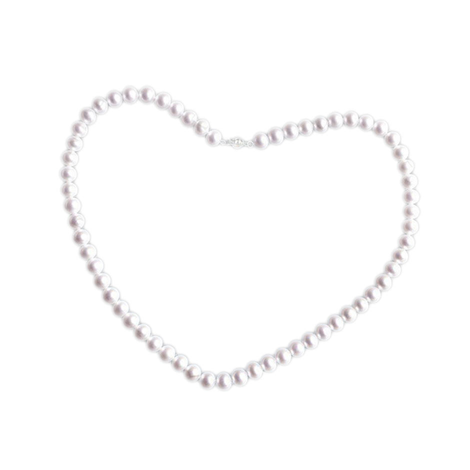 Exquisite silver chain white pure pearl necklace