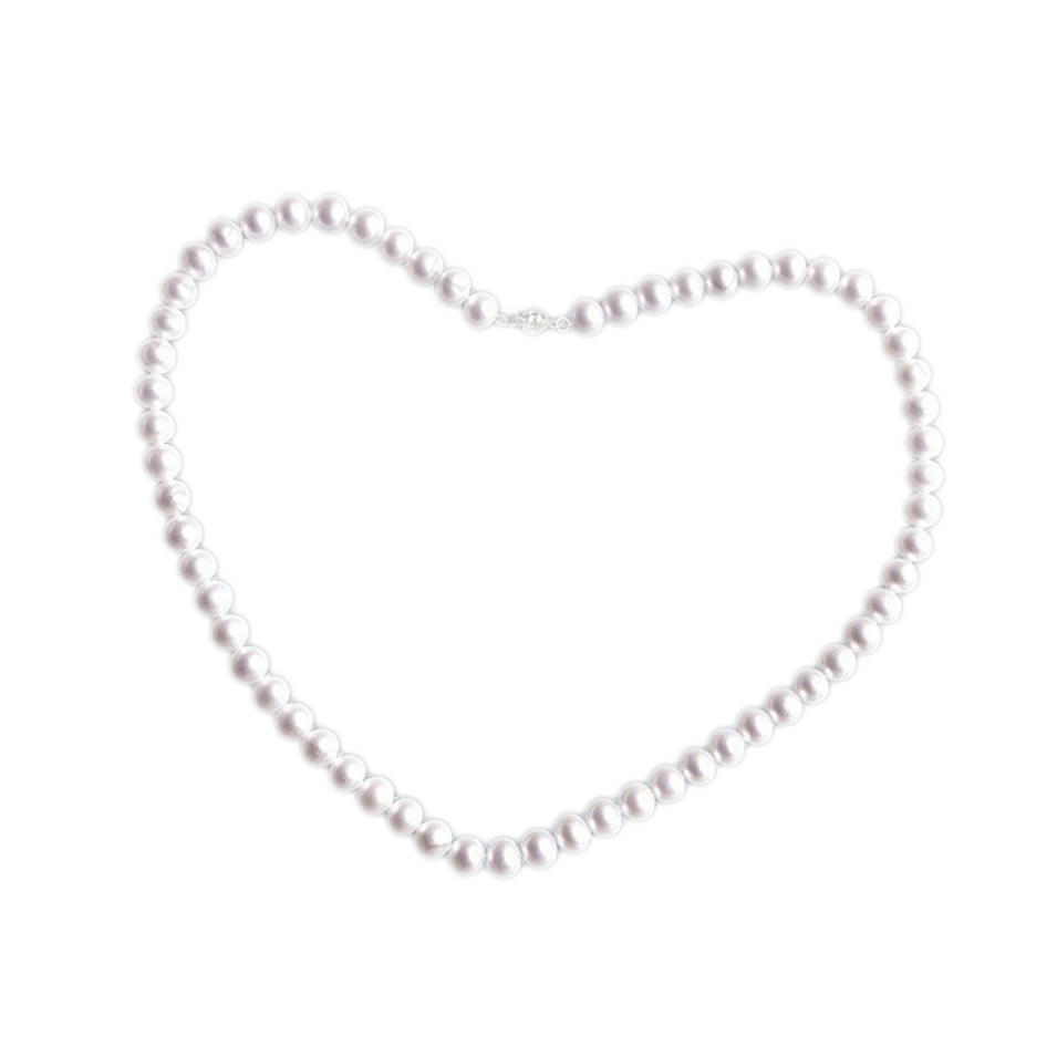 Exquisite silver chain white pure pearl necklace