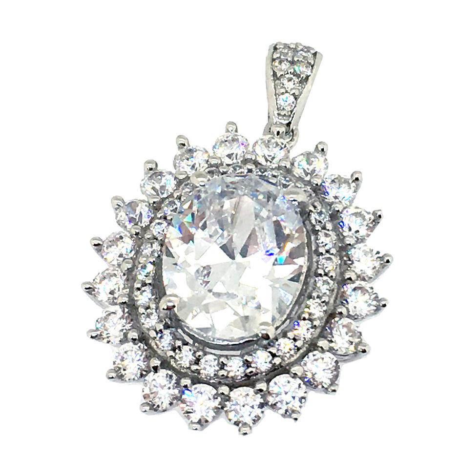 925 silver cz flower charm jwelleries necklace jewelry