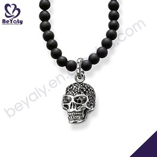 Black rosary silver cz engraved skull pendant necklace