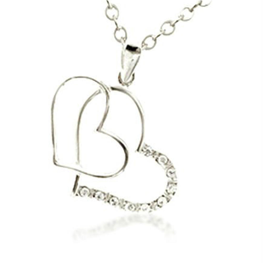 Lapped double hollow heart design titanic heart of ocean necklace