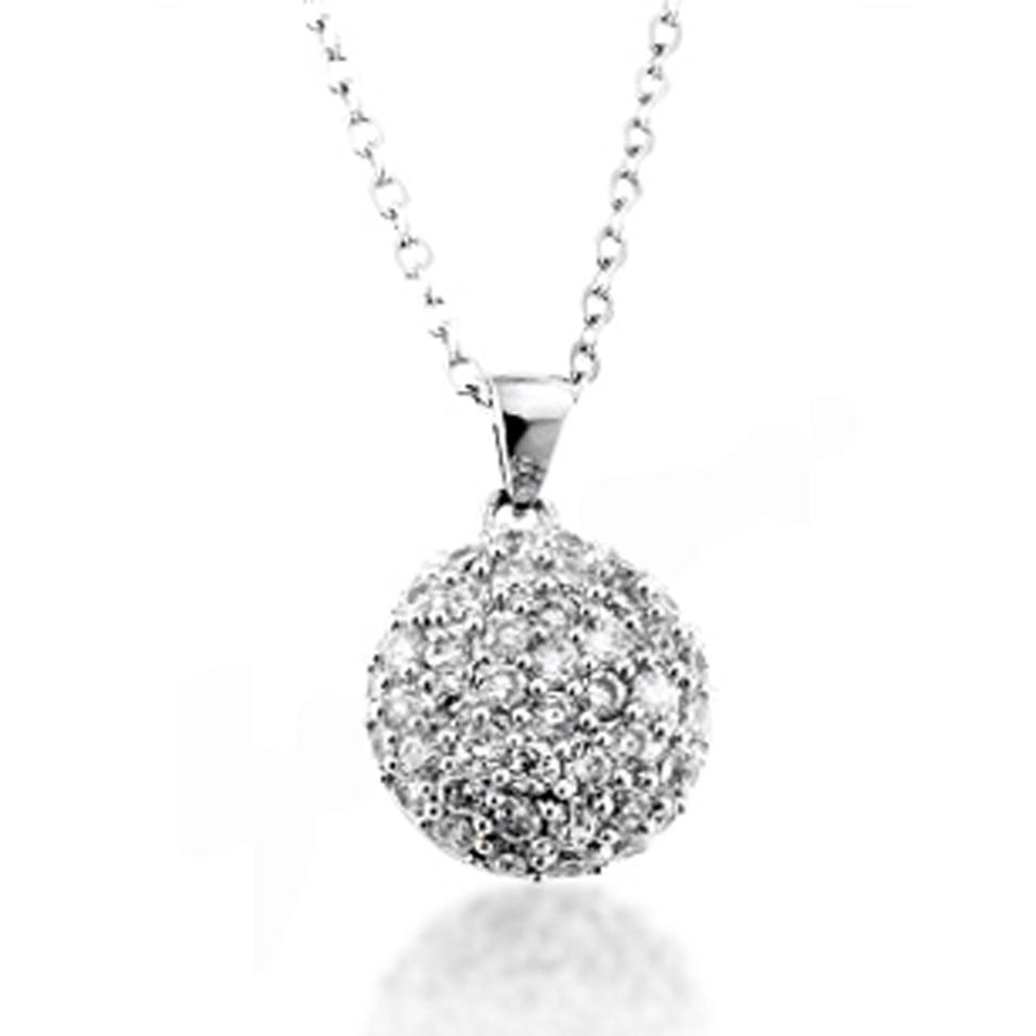 Smart silver best friend beauty crystal ball necklace
