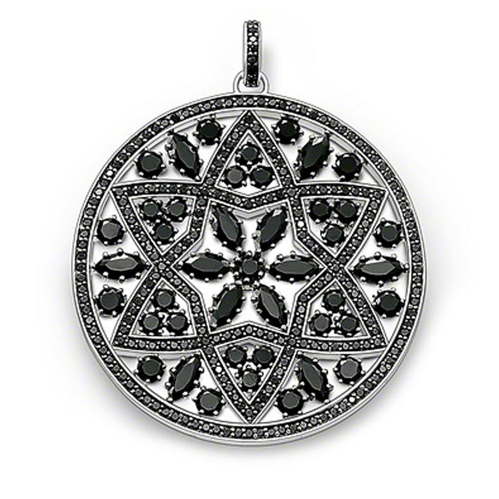 Delicate custom 925 silver black onyx round plain pendant