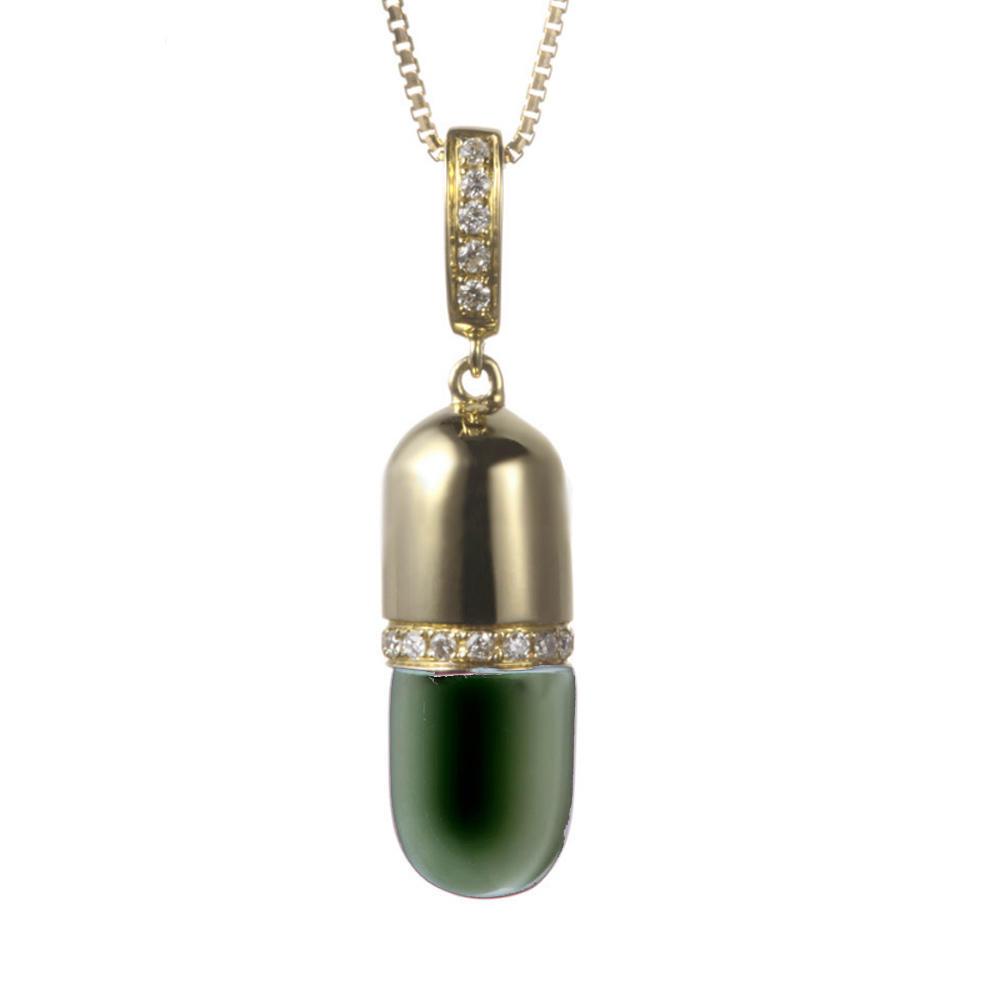 Aluminum Chain Metal Pendant Necklace, Custom Logo Capsule Medical Pendant