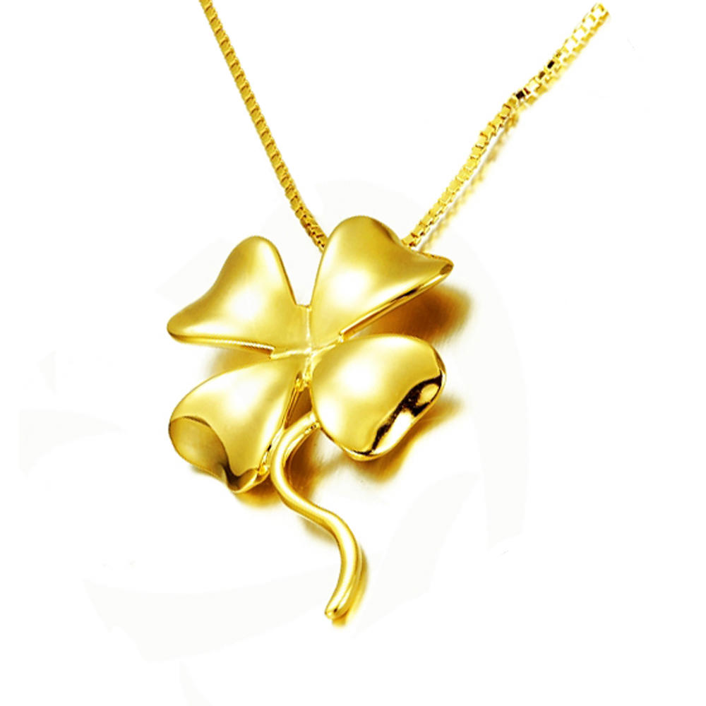 Simple Silver Four-Leaf Clover 8 Gram Gold Plated Chains Necklace Designs