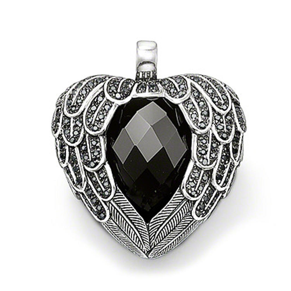 Newest silver wing design black jade heart pendant