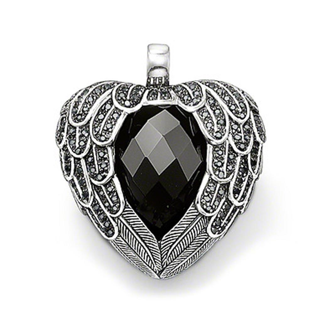 Newest silver wing design black jade heart pendant