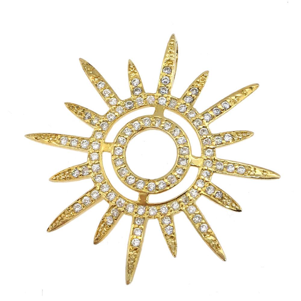 Nice silver sun shape cz 14 karat gold jewelry wholesale
