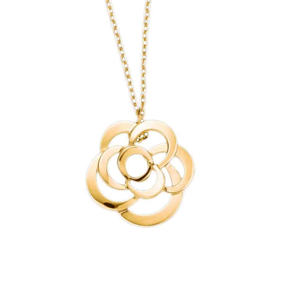 Flower Pendant Necklace Hollow Design Plated 24K Pure Gold Jewelry