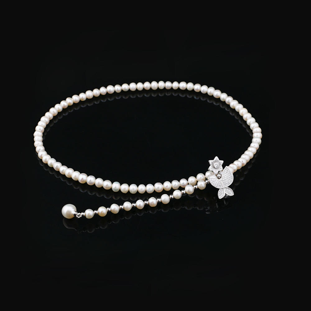 Fashion custom silver women beads chain choker necklace pearl pearls jewelry