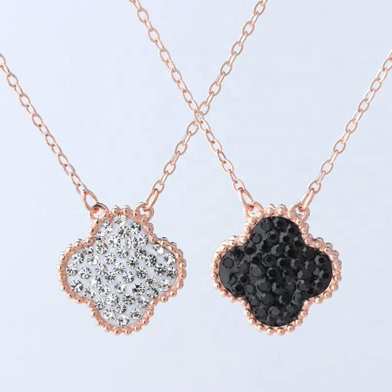 New Rose Gold White and Black Ziroon Four-Leaf Clover Necklace