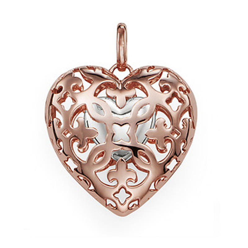 Rose gold heart locket essential oil perfume diffuser necklace