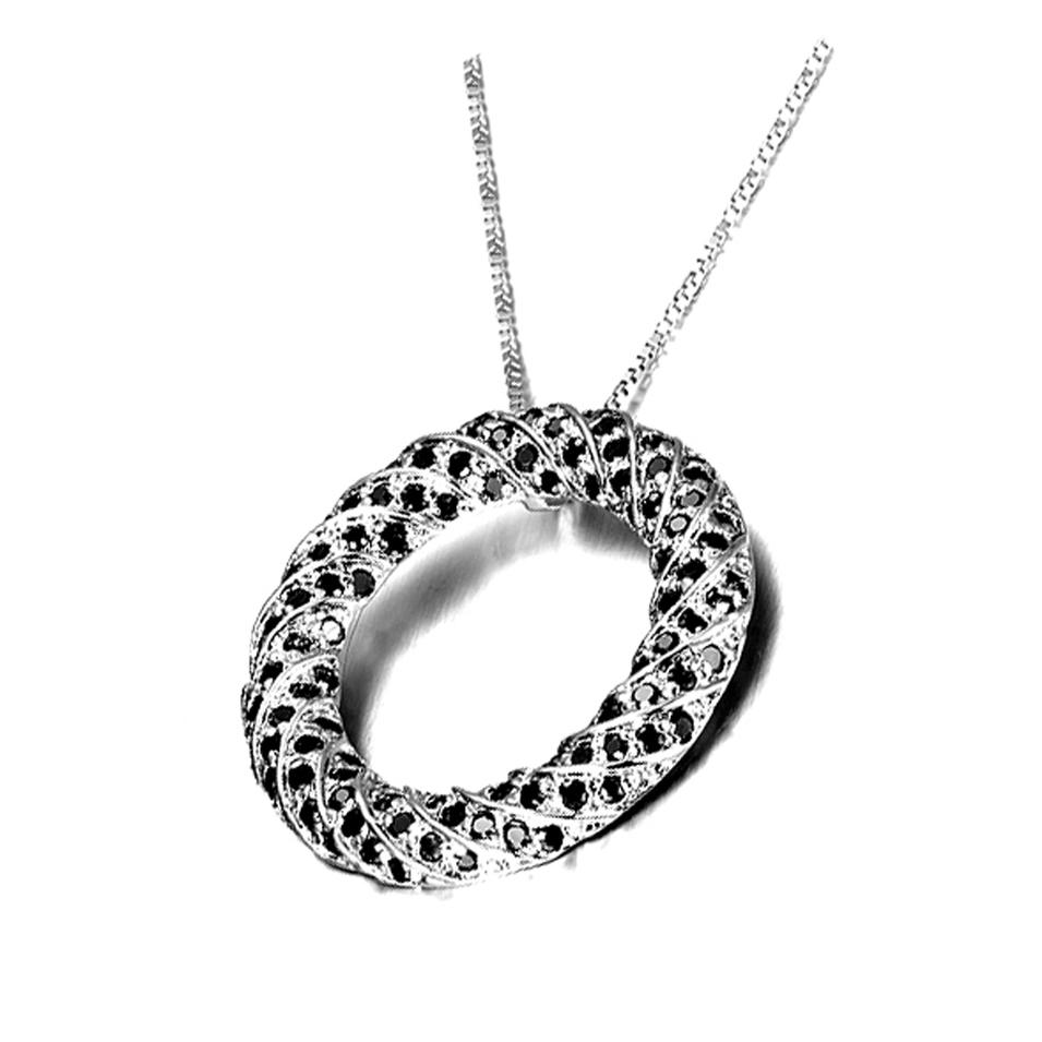 Fashion design circle 925 sterling silver necklace made in italy