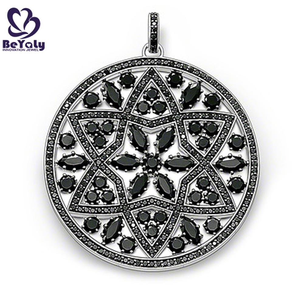 Lovely black round quantum science stone pendant