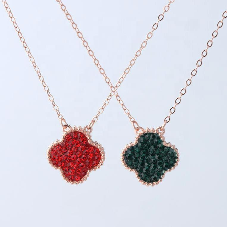 Double-Sided Full Pave Setting Red And Green Zircon Lucky Clover Necklace