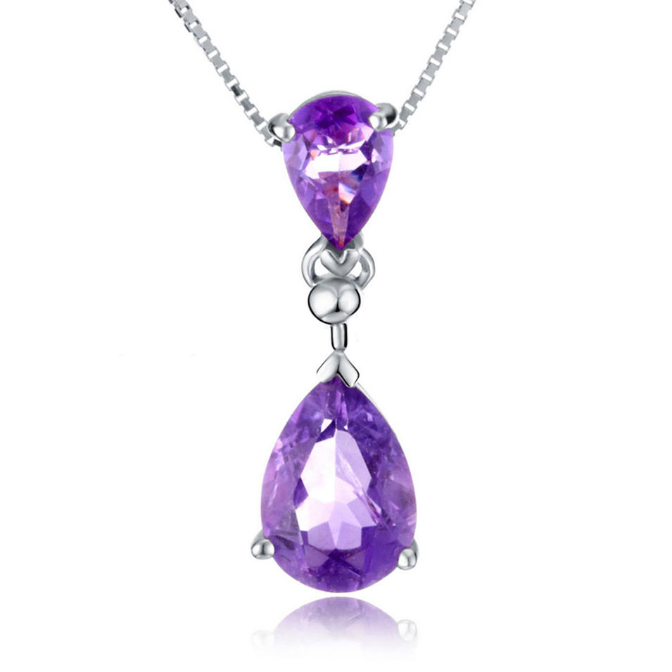 Delicate Amethyst Silver Austrian Crystal Costume Jewelry