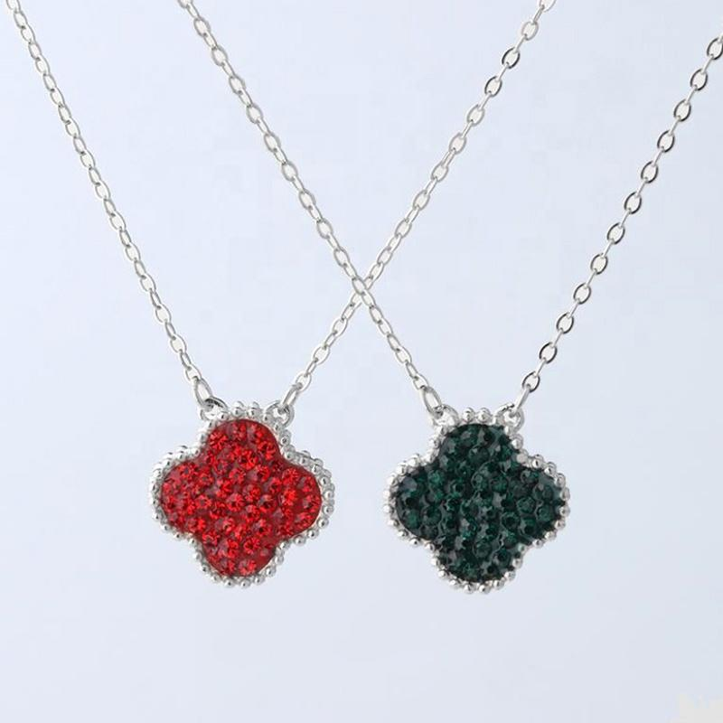 Double Diamond-Encrusted Clover Pendant S925 Sterling Silver Necklace