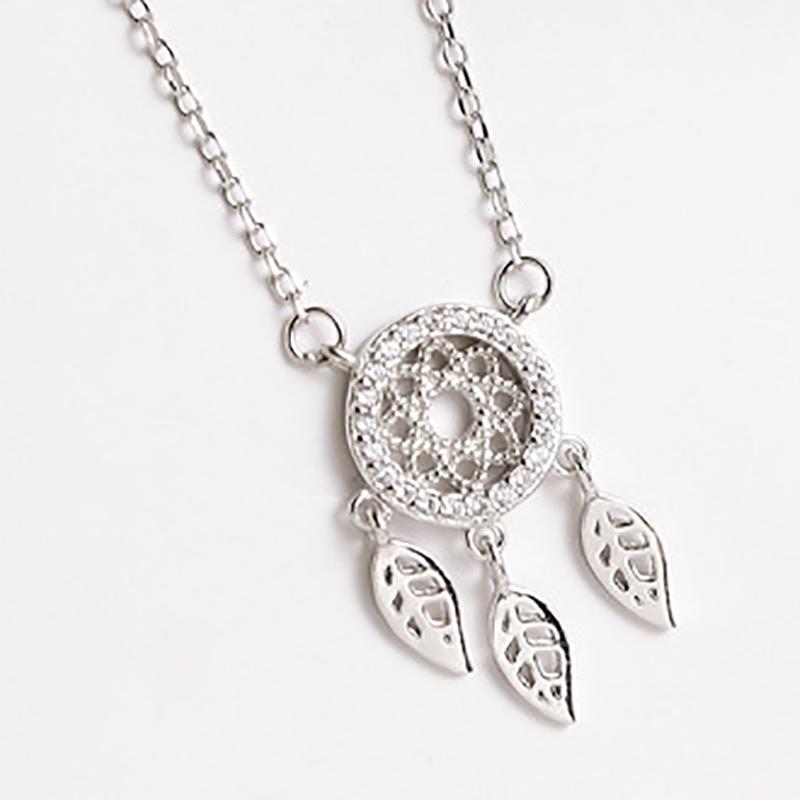 Simple Dream Catcher Necklace Silver Feather Pendant Clavicle Chain Women