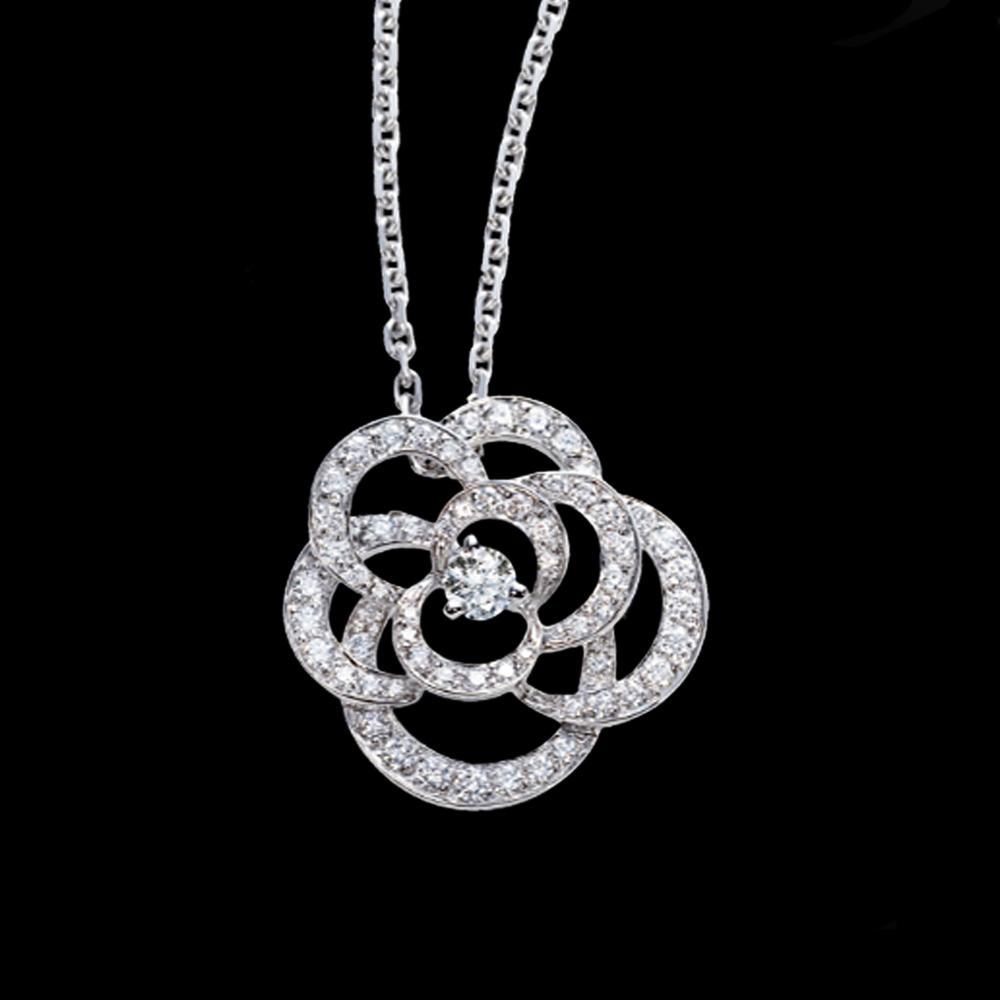 Shiny black flower cz clover costume jewellery materials