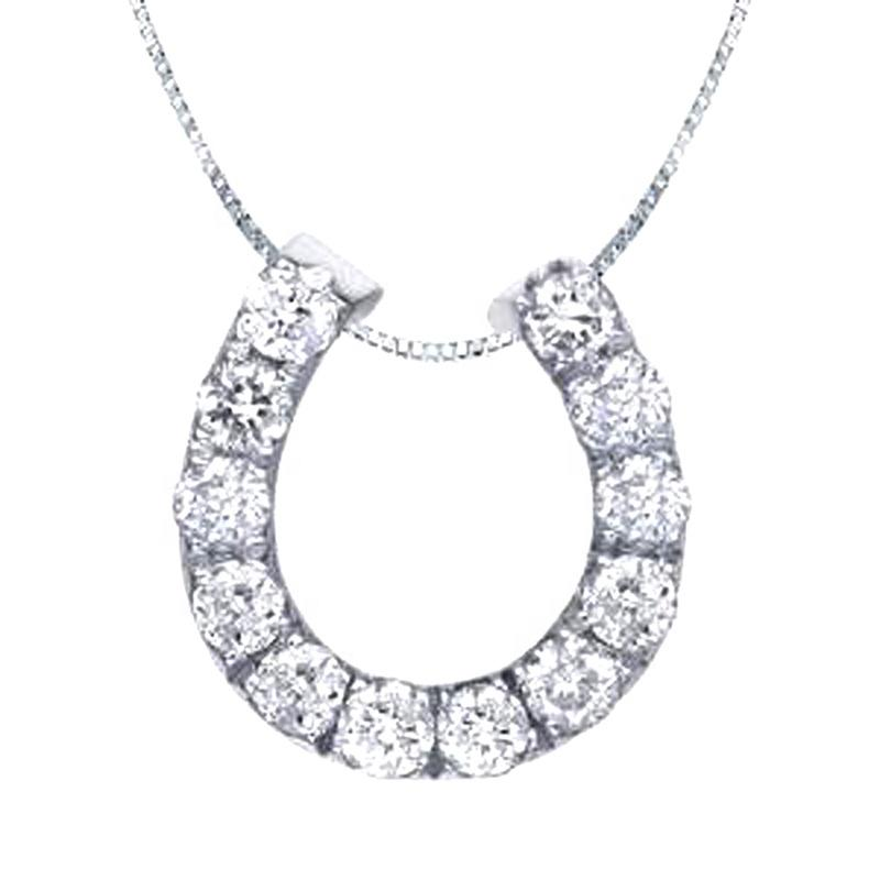 Cheap Silver Crystal Stone Horseshoe Necklace U Letter Shape Jewelry
