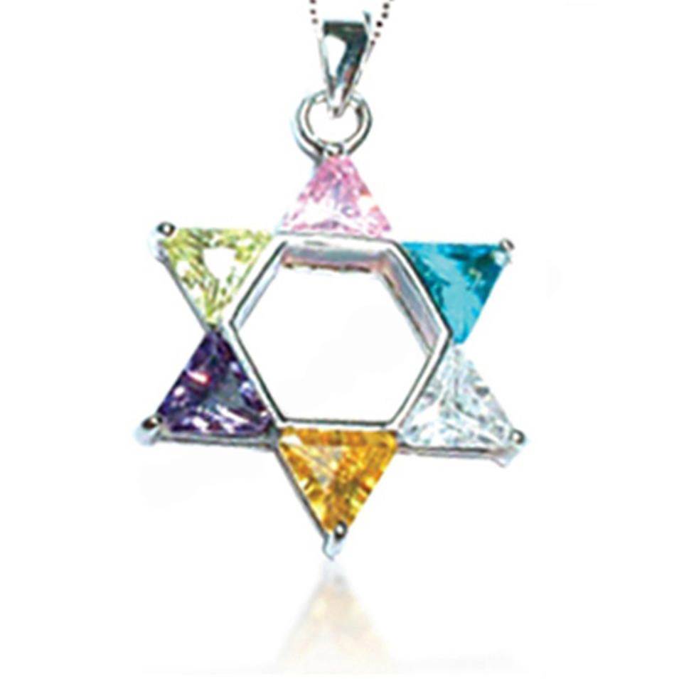 Colorful lovely silver six-pointed star shape car pendant