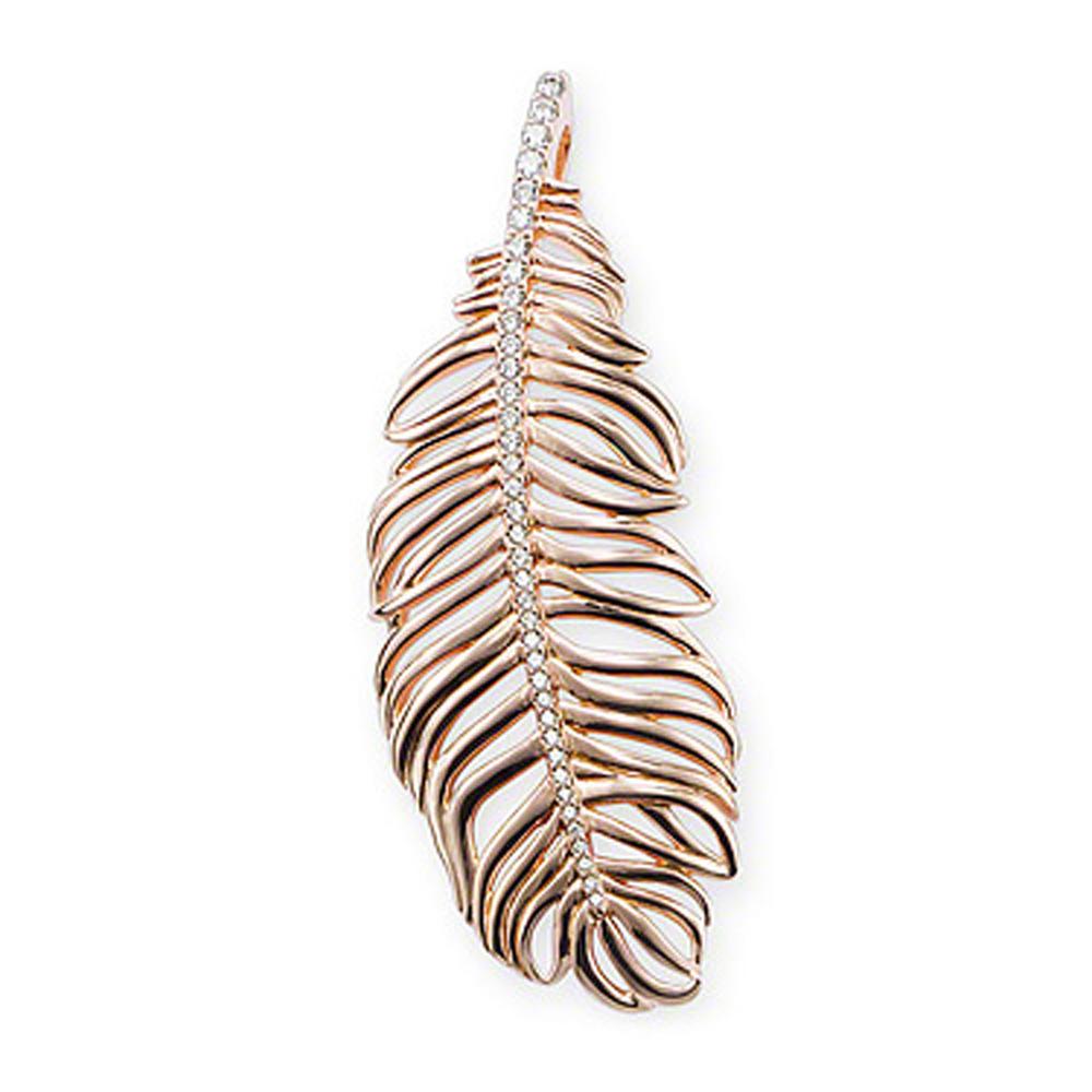 Cute Feather Design 925 Silver Jewellery Cz Stone Necklace Set