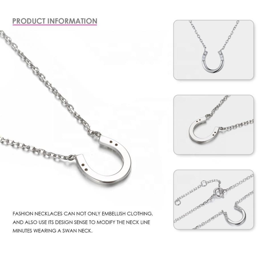 Cheap Silver Crystal Stone Horseshoe Necklace U Letter Shape Jewelry