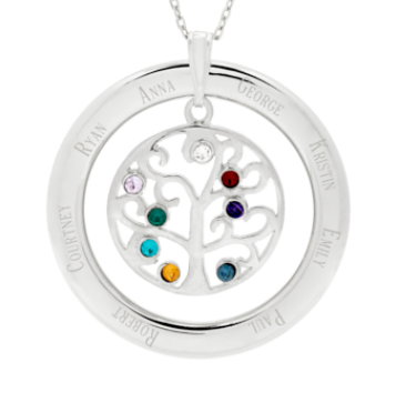Sterling s925 silver family tree pendant with birthstone