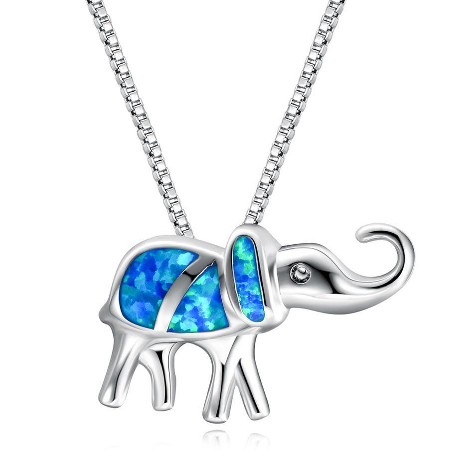 S925 Pure Silver Blue Opal Treasure Elephant Pendant Girl Elephant Necklace