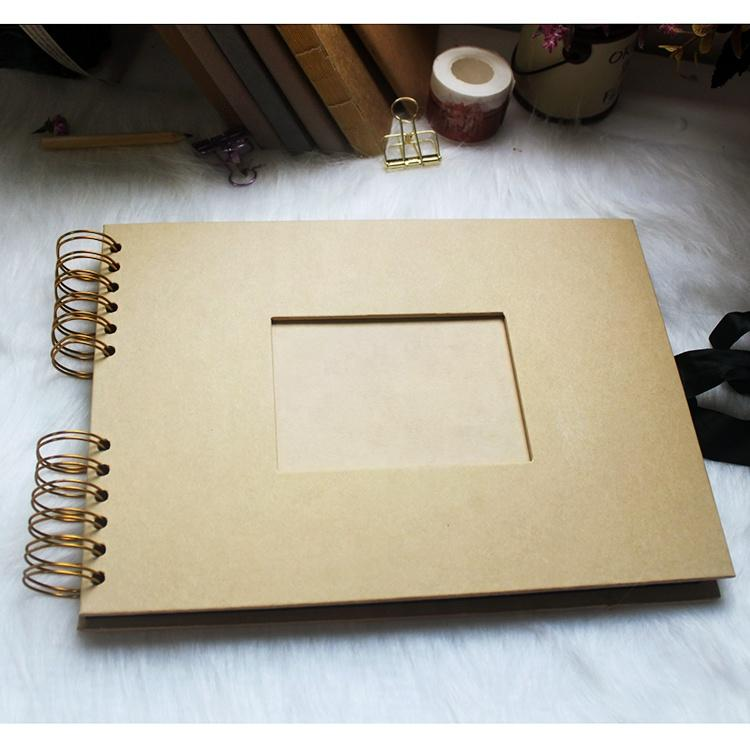 315x210mm Kraft Cover Spiral Scrapbook with Black Cardstock Pages