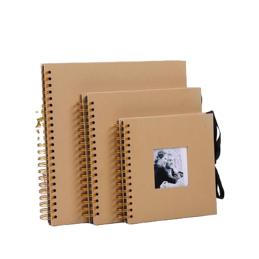 Paperboard Kraft Paper Photo Albums Metal Spiral Wire Binding Baby Photo Album