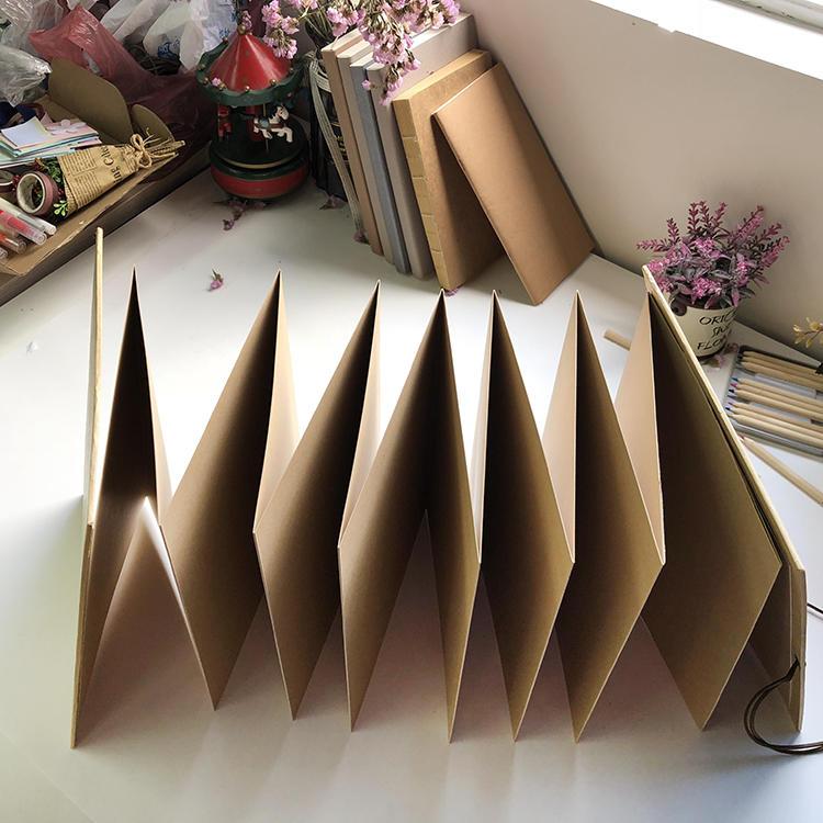 New A4Kraft Paper Scrapbook Accordion Album With Ribbon Closure for lover,custom logo