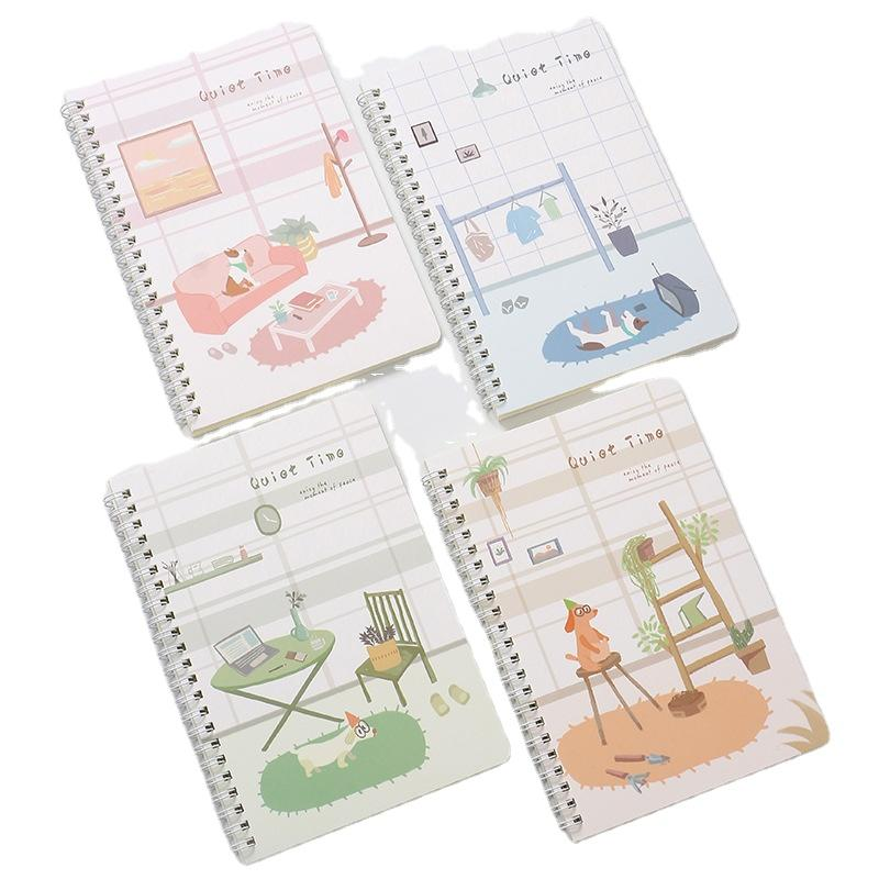 Custom A5 Kraft Spiral Binding Bound Classmate Exercise Book Cartoon Customized Paper Note Book And Diary Book