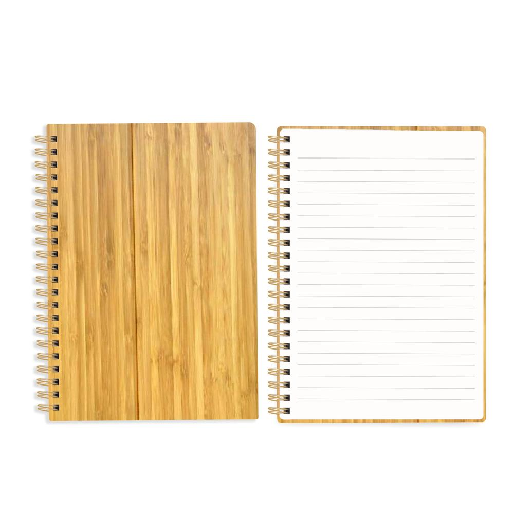 Newest A5 Hardcover Journal Spiral Bounf Bamboo Cover Notebook With Lined Pages