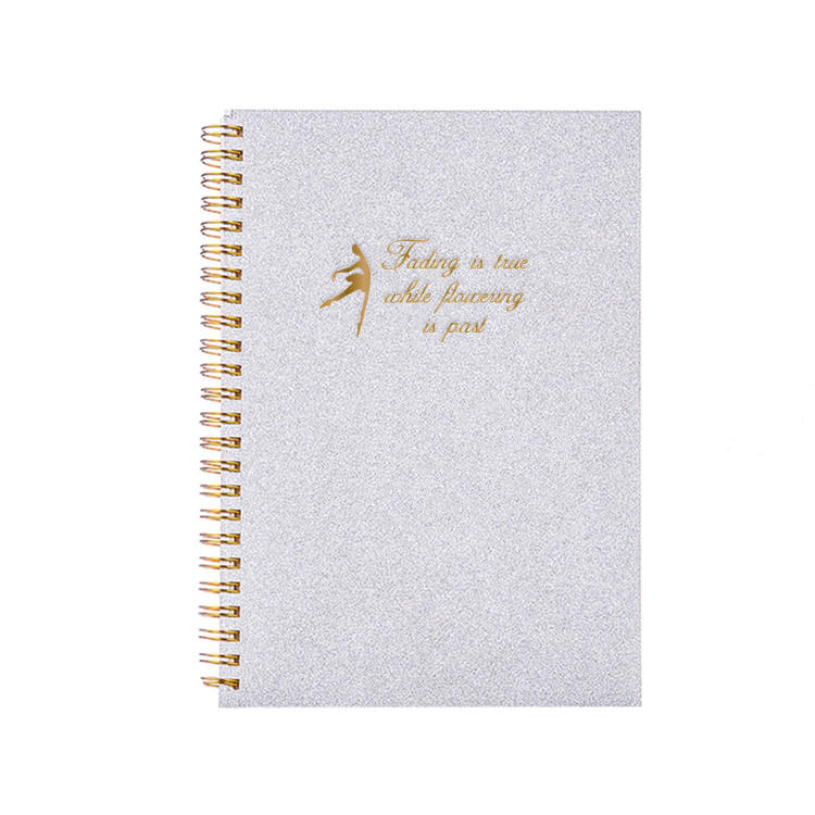 Custom High Quality Hardcover Gold Foil Perforated Notebook A5 With Gold Spiral Binding