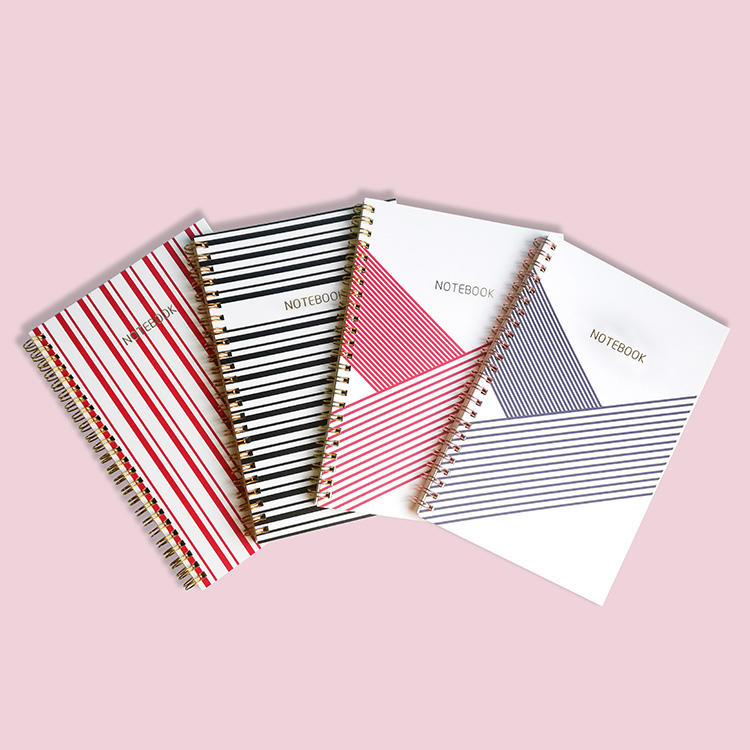 Pink a4 custom hardcover bound gold spiral notebooks with dotted pages