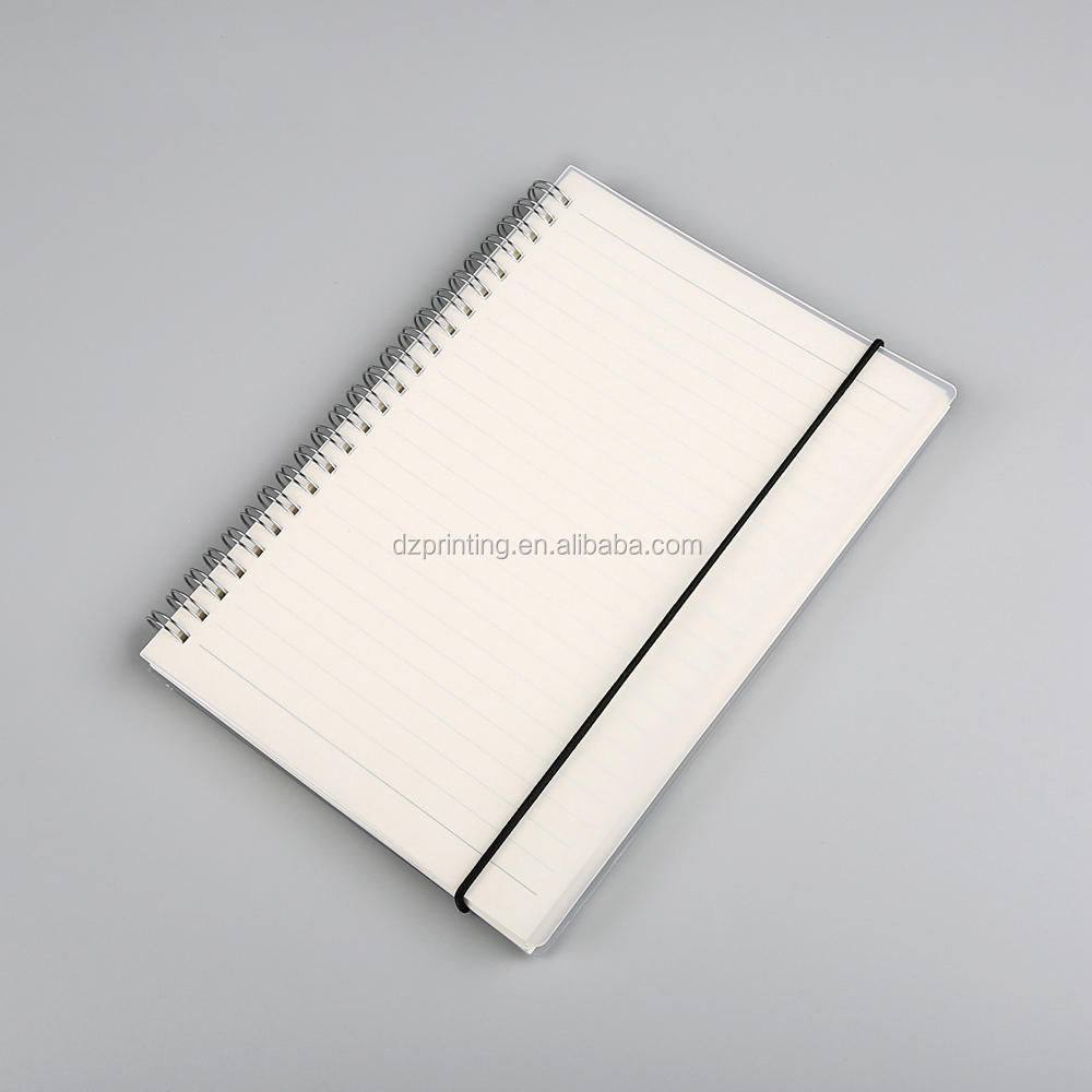 Cheap Price Personalized PVC Transparent Hard Plastic Cover A5 Spiral Bound Notebook With Perforation