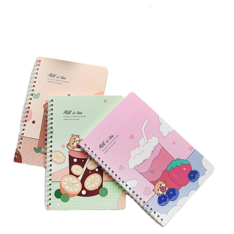 Lovely A5 Gold Spiral Binding Planner Exercise Books School Single Rule Cartoon Coloring Book