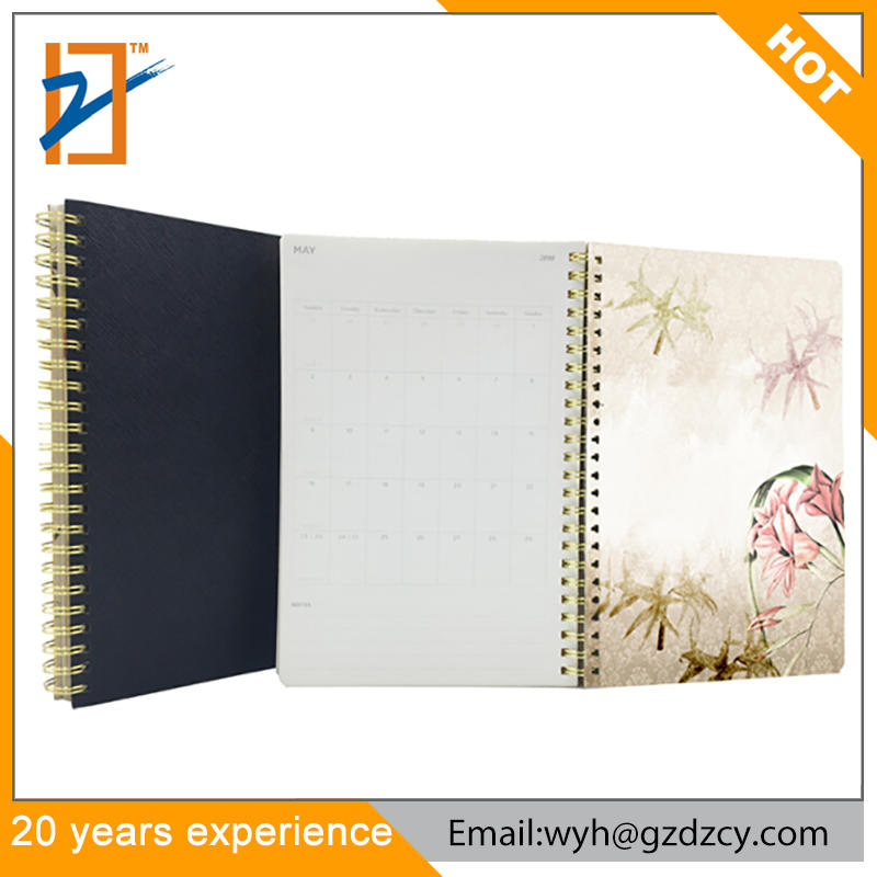 Agenda 2019 2020 Planner Leather Bound Leather Spiral Notebook With Color Pages,custom logo