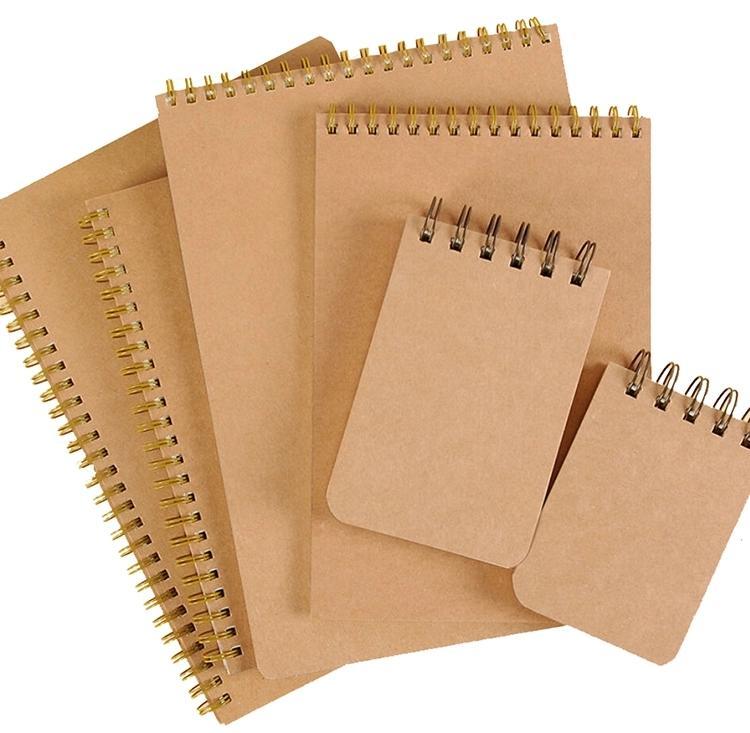School Office Supplies A5/A4 Custom Size Logo Kraft Paper Cover Inner Ruled 2 / 5mm Dot Grid Notepad Notebook