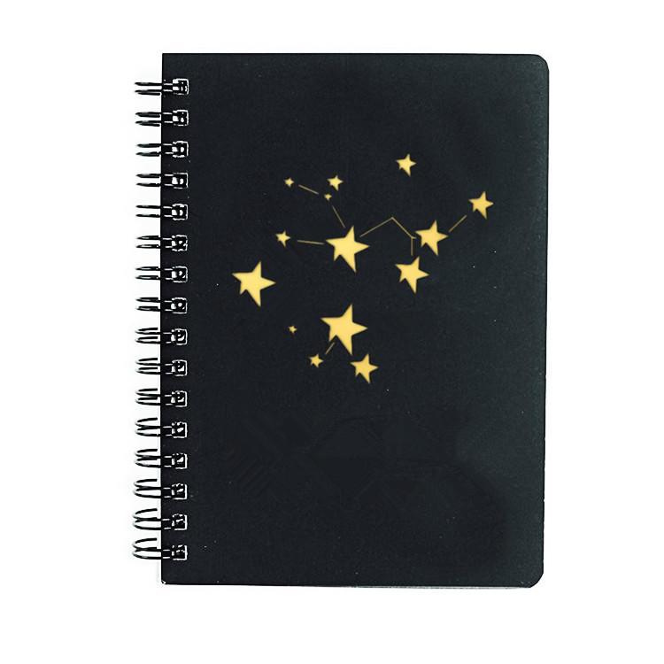Custom High Quality Hardcover A5 Spiral Bound Black Notebook With Gold Foil Logo,custom logo