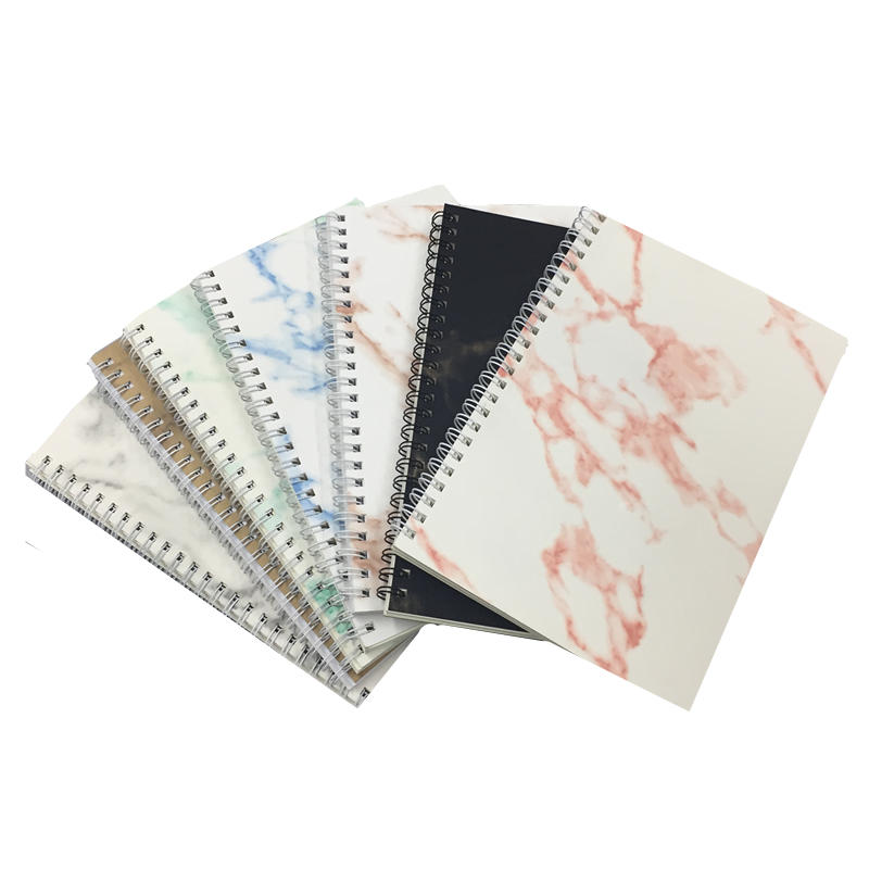 Low MOQ White Double Wire Bound PU Leather Journal A5 Thick Hard Cover Spiral Marble Notebook