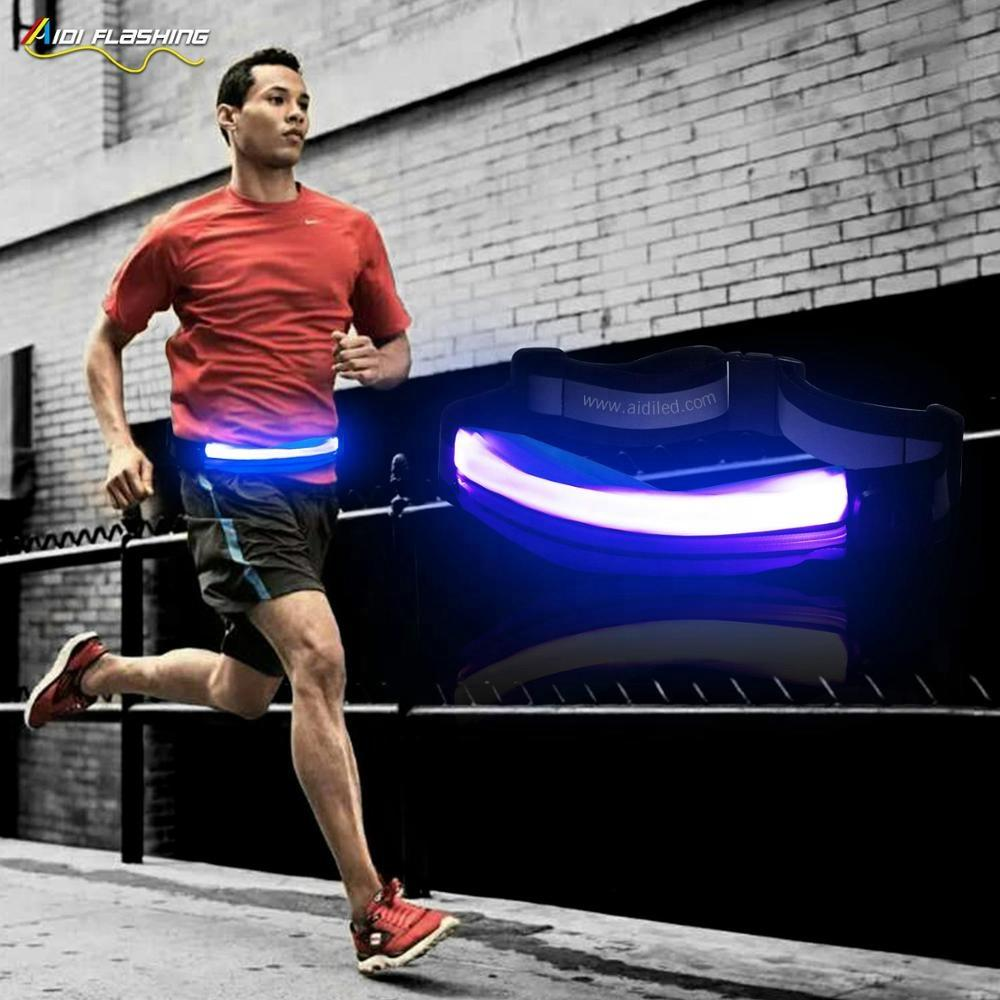 Water Resistant Led Fanny Pack USB Rechargeable Led Waist Bag with led Light Night Sport Luminous Running Fanny Pack