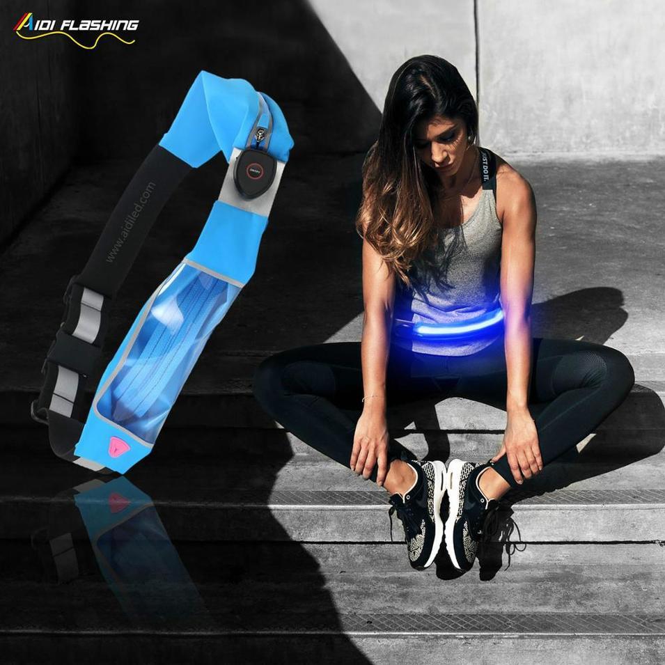 Double Bags Led Waist Bag with Led Light for Night Sport Safety Mobile Phone Waist Bag for Runner