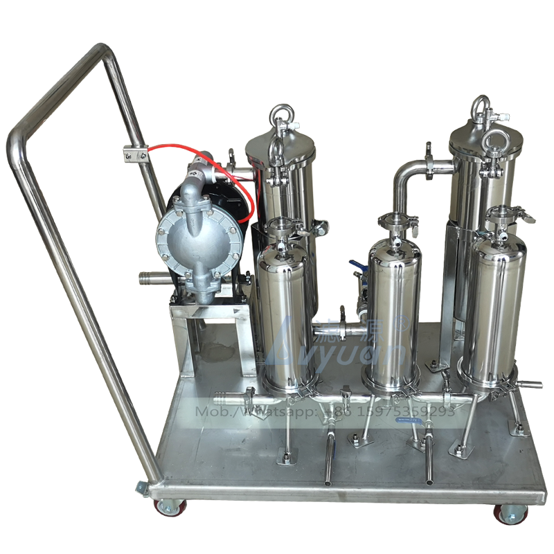 Hand cart model single/dual bags 304 316L stainless steel bag filter machine with liquid oil bag filter 10 microns 7x32 inch