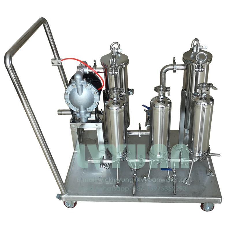 Hand trolley stainless steel 10 microns housing filter 1~7 stage 304 316L cartridge water filter system with gas air driven pump